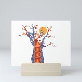 African Baobab tree of life at Sunset Mini Art Print