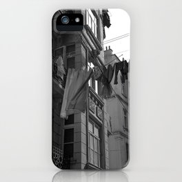 Basics of life, urban photography, print, black and white, old, city, town iPhone Case