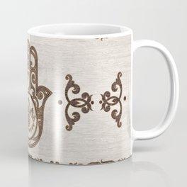Hamsa Hand - Hand of Fatima  wooden texture Coffee Mug