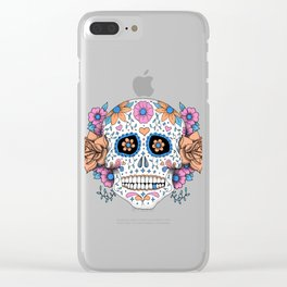 Sugar Skull in Blue and Coral Clear iPhone Case