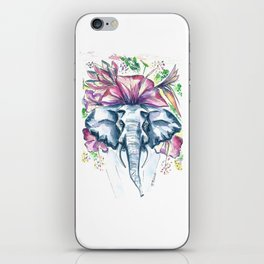 Whimsical flowers elephant watercolor painting iPhone Skin