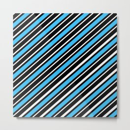 TEAM COLORS 1…Light blue back white diagonal stripe Metal Print