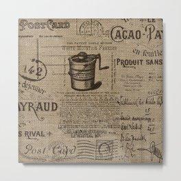 Vintage Ephemera Printed Burlap Metal Print