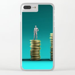 Finance Wealth Increase with Business People Standing on Chart of Gold Coins Clear iPhone Case