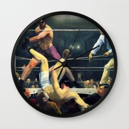 Classical Masterpiece 'Dempsey and Firpo' by George Bellows Wall Clock