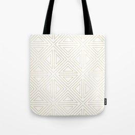 Angled White Gold Tote Bag