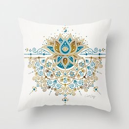Sacred Lotus Mandala – Teal & Bronze Palette Throw Pillow