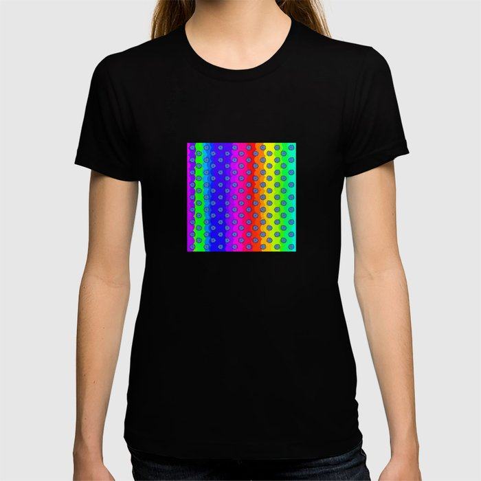 Rainbow and blue flowers T-shirt