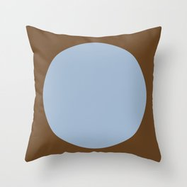 One Dot Series 01 - Woodland Rainstorm - Blue Silver on Brown - Minimalism - Minimal - Abstract Spot Throw Pillow