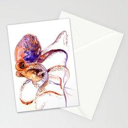 Octopus, orange purple aquatic animal design Stationery Cards
