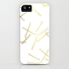 Bobby Pins - Gold and White iPhone Case