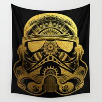 gold foil Wall Tapestries featuring Mandala StormTrooper - Gold Foil by Spectronium - Art by Pat McWain