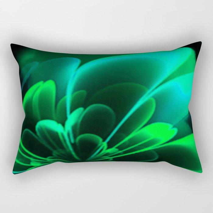 Stylized Half Flower Green Rectangular Pillow