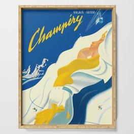 Vintage Champery Switzerland Travel Serving Tray