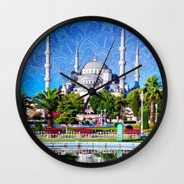 Blue mosque mandala Wall Clock