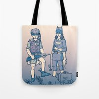 gotham Tote Bags featuring Moonrise Gotham by Ramon Villalobos