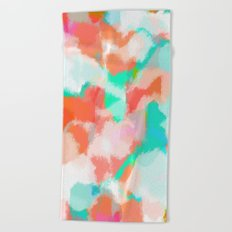 Fayola - Coral, teal, pink and white abstract art Beach Towel