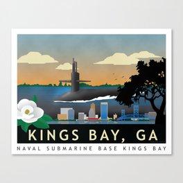 Kings Bay, GA - Retro Submarine Travel Poster Canvas Print