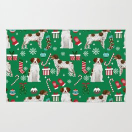 Brittany Spaniel christmas pattern dog breed presents stockings candy canes Rug