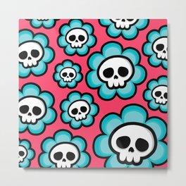 Skull Flowers Metal Print