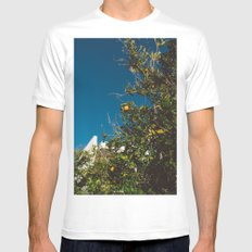 California Orange Tree White Mens Fitted Tee MEDIUM