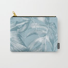 Island Dream Teal Palm Leaves Carry-All Pouch