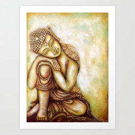 """Daydreaming Buddha- Healing Art"" Art Print"