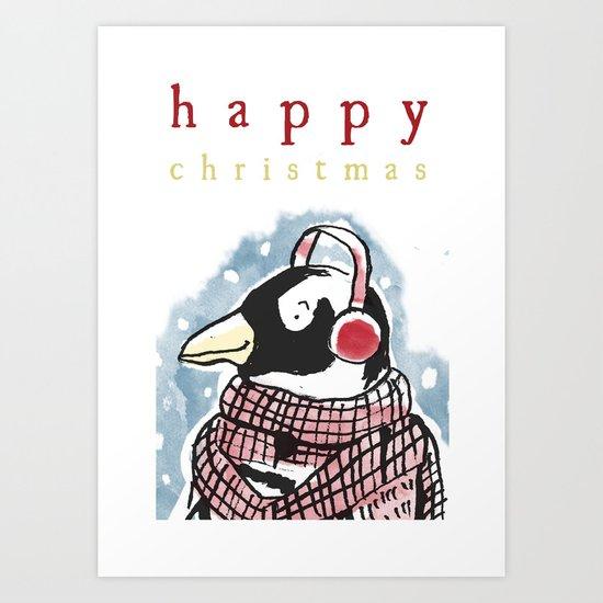 Penguin Christmas Card Art Print