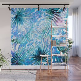 Aloha - Blue abstract Tropical Palm Leaves and Monstera Leaf Garden Wall Mural