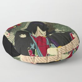 Dragon with a Warrior in Japan wood print Floor Pillow