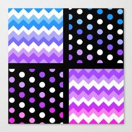 Multi-Color Gradient Chervon/Polkdot Pillow 1 Canvas Print