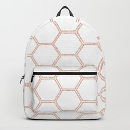 rose gold hexagon pattern Backpack