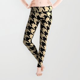 Black and Tan Classic houndstooth pattern Leggings
