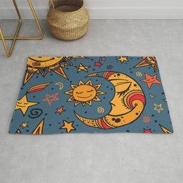 Cute, Sun, Moon & Star Pattern Rug