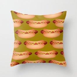 Hotdog Background Throw Pillow