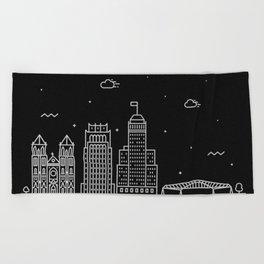 Newark Minimal Nightscape / Skyline Drawing Beach Towel