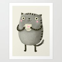 fat Art Prints featuring I♥kill (brown) by Lime