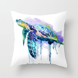 Watercolor Sea Turtle Throw Pillow