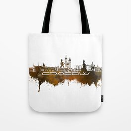 Cracow skyline city brown Tote Bag