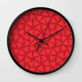 Red triangles randomly placed. Scattered light red triangles on a dark red background. Geometric pattern. Wall Clock