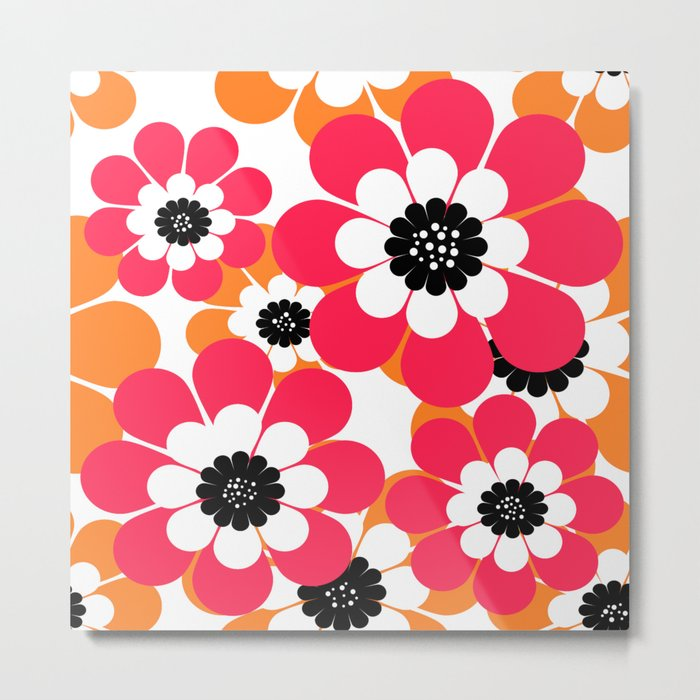 The floral pattern . red and yellow on a white background . Metal Print