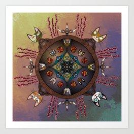 Purrfectly Kitteh Mandala Art Print