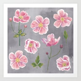 Japanese Anemone Flower Painting Art Print