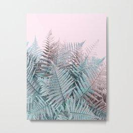 Duotone Fern Jungle on Soft Pink Metal Print