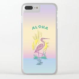 Aloha Flamingo on Hawaiian Sunset Clear iPhone Case