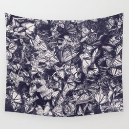 Indigo butterfly photograph duo tone blue and cream Wall Tapestry