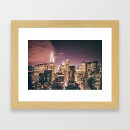 New York City - Chrysler Building Lights Framed Art Print