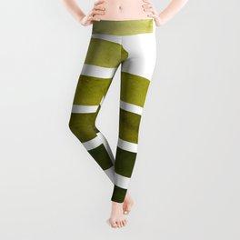 Olive Green Midcentury Modern Minimalist Staggered Stripes Rectangle Geometric Aztec Pattern Waterco Leggings
