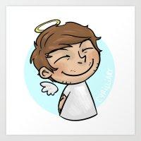 cyrilliart Art Prints featuring Emoji Angel: Louis by Cyrilliart