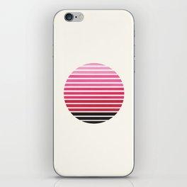 Magenta Mid Century Modern Minimalist Scandinavian Colorful Stripes Round Circle Frame iPhone Skin